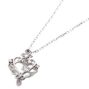 【鑑別書付】K18ホワイトゴールド 天然ダイヤネックレス ダイヤモンドペンダント/ネックレス0.13ct ハートモチーフ h02