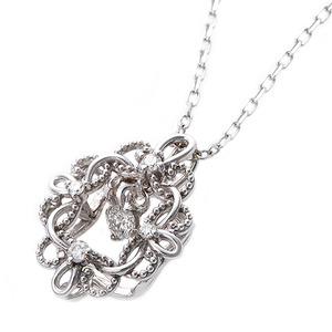 【鑑別書付】K18ホワイトゴールド 天然ダイヤダイヤモンドペンダント/ネックレス0.13ct フラワーモチーフ