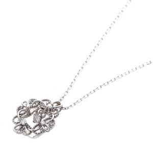 【鑑別書付】K18ホワイトゴールド 天然ダイヤネックレス ダイヤモンドペンダント/ネックレス0.13ct フラワーモチーフ h02