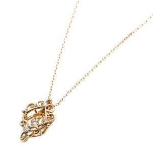 【鑑別書付】ダイヤモンドペンダント/ネックレス 0.05ct K10 イエローゴールド アラベスク フラワーモチーフ 鑑別書付き h02