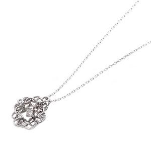 【鑑別書付】ダイヤモンドペンダント/ネックレス 0.05ct K10 ホワイトゴールド アラベスク フラワーモチーフ 鑑別書付き h02