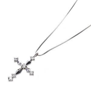 【鑑別書付】K18ホワイトゴールド 天然ダイヤネックレス ダイヤモンドペンダント/ネックレス0.10ct クロスモチーフ h02