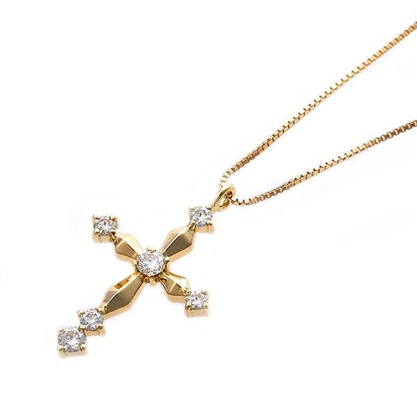 【鑑別書付】K18イエローゴールド 天然ダイヤネックレス ダイヤモンドペンダント/ネックレス0.10ct クロスモチーフf00