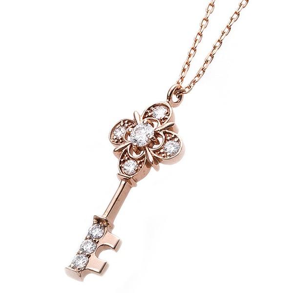 【鑑別書付】K18ピンクゴールド 天然ダイヤネックレス ダイヤモンドペンダント/ネックレス0.11ct キーモチーフf00