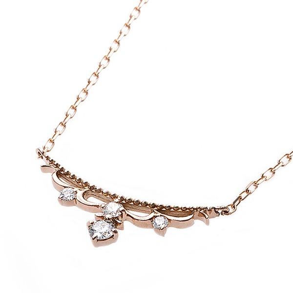 【鑑別書付】K18ピンクゴールド 天然ダイヤネックレス ダイヤモンドペンダント/ネックレス0.10ct ダイヤ4ストーンf00
