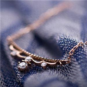 【鑑別書付】K18ピンクゴールド 天然ダイヤネックレス ダイヤモンドペンダント/ネックレス0.10ct ダイヤ4ストーン f04