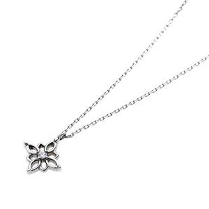 【鑑別書付】プラチナPT900 天然ダイヤネックレス ダイヤモンドペンダント/ネックレス0.014ct フラワーモチーフ h02