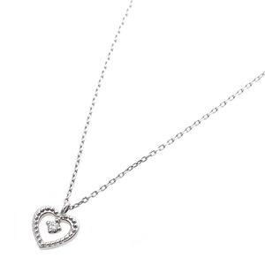 【鑑別書付】プラチナPT900 天然ダイヤネックレス ダイヤモンドペンダント/ネックレス0.014ct ハートモチーフ h02
