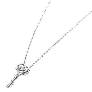 【鑑別書付】プラチナPT900 天然ダイヤネックレス ダイヤモンドペンダント/ネックレス0.014ct キーモチーフ h02