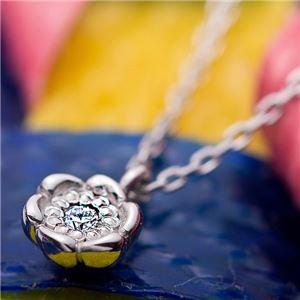 【鑑別書付】プラチナPT900 天然ダイヤネックレス ダイヤモンドペンダント/ネックレス0.014ct フラワーモチーフ h03