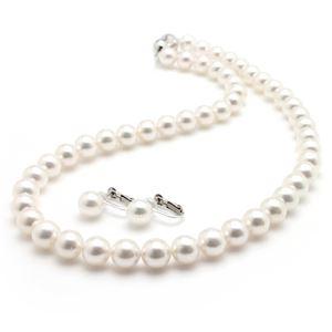 【鑑別書付】あこや真珠 オーロラ花珠真珠ネックレスセット パールネックレス ピアスセット 8.0-8.5mm珠 - 拡大画像