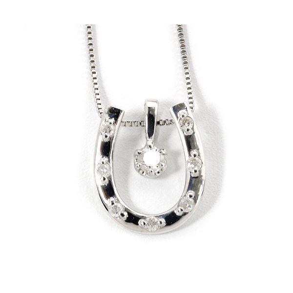 K18ホワイトゴールド 天然ダイヤネックレス 馬蹄型 ダイヤモンドペンダント/ネックレス0.1CTf00