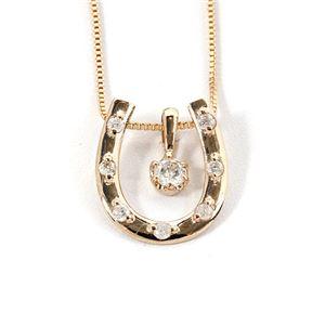 K18イエローゴールド 天然ダイヤネックレス 馬蹄型 ダイヤモンドペンダント/ネックレス0.1CT