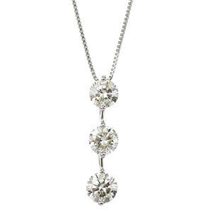 【鑑定書付】プラチナPT900 天然ダイヤモンドネックレス ダイヤ1.0CTネックレス 縦にセットされた人気のダイヤ3ストーン - 拡大画像