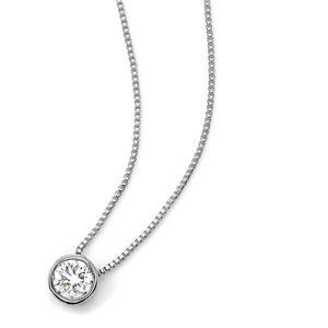 ダイヤモンド 一粒 0.15ct K18 ホワイトゴールド Nudie Heart Plus(ヌーディーハートプラス)人気の覆輪留 ペンダント