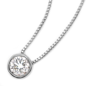 ダイヤモンド 一粒 0.1ct K18 ホワイトゴールド ペンダント Nudie Heart(ヌーディーハート) 人気の覆輪留 ペンダント
