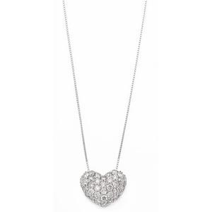 ダイヤモンド 0.5ct K18 ホワイトゴールド ハート ダイヤパヴェ0.5カラット ハートパヴェ ペンダント