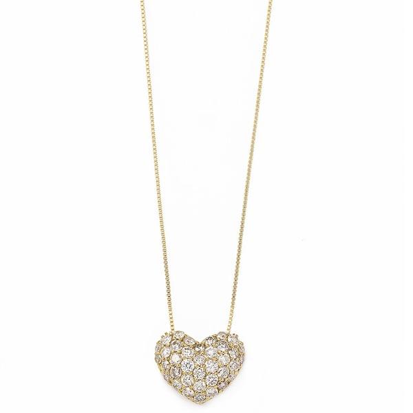 ダイヤモンド ネックレス 0.5ct K18 イエローゴールド ハート ダイヤパヴェネックレス 0.5カラット ハートパヴェ ペンダントf00