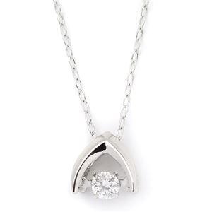 K18ホワイトゴールド 天然ダイヤモンドネックレス ダンシングストーン ダイヤモンドスウィングネックレス ダイヤ0.08ct 揺れるダイヤが輝きを増す☆ - 拡大画像