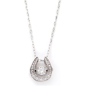ダイヤモンドペンダント/ネックレス K18 ホワイトゴールド 5粒 合計0.07ct ダンシングストーン ダイヤモンドスウィングネックレス 馬蹄型モチーフ 揺れるダイヤが輝きを増す☆ 馬蹄 揺れる ダイヤ - 拡大画像