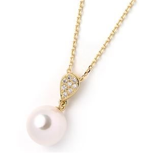 【鑑別書付】あこや真珠 オーロラ花珠真珠ネックレス パールネックレス 8.0mm珠 天然ダイヤモンド付き 0.04ct K18金イエローゴールド - 拡大画像