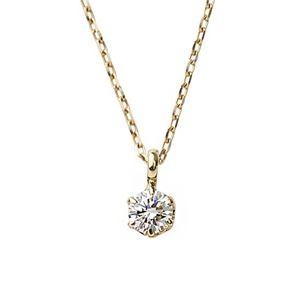 ダイヤモンド 一粒 K18 ピンクゴールド 0.1ct ダイヤシンプル ペンダント