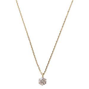ダイヤモンド ネックレス 一粒 K18 ピンクゴールド 0.2ct ダイヤネックレス シンプル ペンダント - 拡大画像