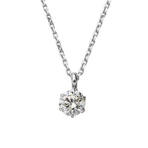 ダイヤモンド ネックレス 一粒 K18 ホワイトゴールド 0.2ct ダイヤネックレス シンプル ペンダント - 拡大画像