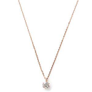 ダイヤモンド ネックレス 一粒 K18 ピンクゴールド 0.3ct ダイヤネックレス シンプル ペンダント - 拡大画像