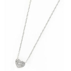 ダイヤモンド ネックレス K18 ホワイトゴールド 0.15ct ハート ダイヤパヴェネックレス ペンダント h03