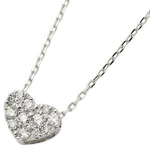 ダイヤモンド ネックレス K18 ホワイトゴールド 0.15ct ハート ダイヤパヴェネックレス ペンダント f04