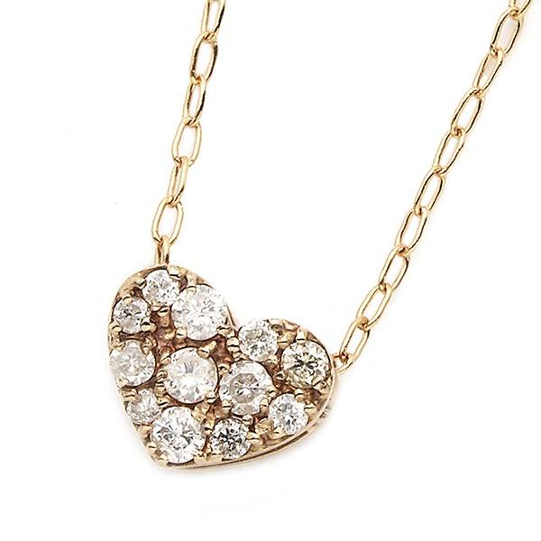 K18ピンクゴールド ダイヤモンドネックレス 0.15CT ハートダイヤパヴェネックレス拡大
