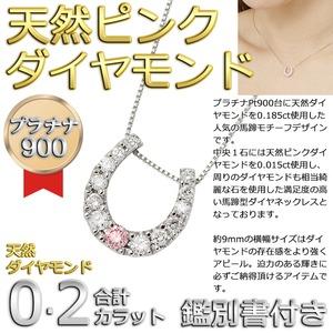 ダイヤモンド ピンクダイヤモンドペンダント/ネックレス プラチナ Pt900 13石 合計0.2ct 馬蹄型 鑑別書付き h01