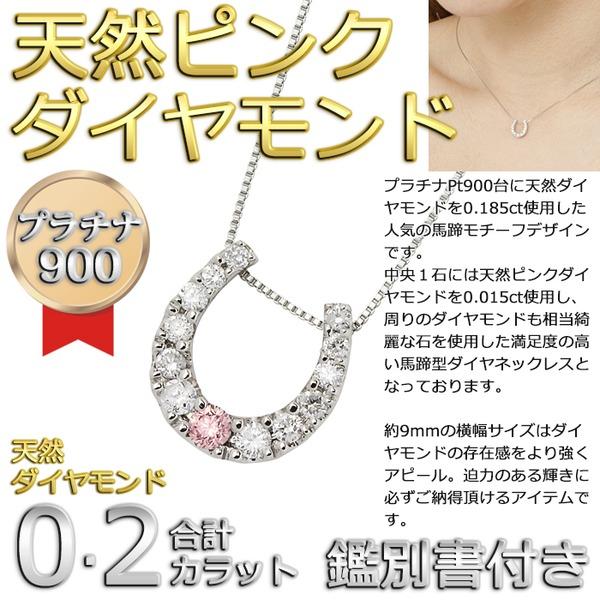 ダイヤモンド ピンクダイヤモンドペンダント/ネックレス プラチナ Pt900 13石 合計0.2ct 馬蹄型 鑑別書付きf00