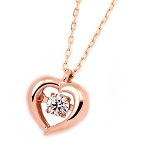 K18ピンクゴールド 天然ダイヤモンドネックレス ダンシングストーン ダイヤモンドスウィングネックレス ダイヤ0.08ct ハートモチーフ 揺れるダイヤが輝きを増す☆ - 拡大画像