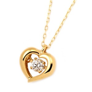 ダイヤモンドペンダント/ネックレス 一粒 K18 イエローゴールド 0.08ct ダンシングストーン ダイヤモンドスウィングネックレス 揺れるダイヤが輝きを増す☆ ハートモチーフ 揺れる ダイヤ - 拡大画像