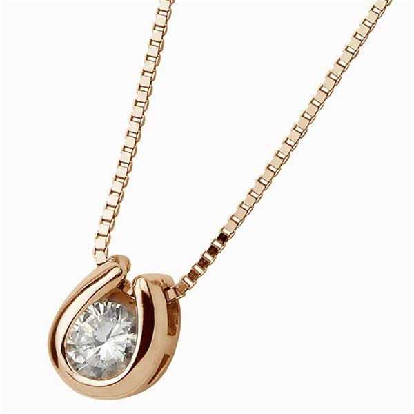 K18ピンクゴールド 天然ダイヤモンドペンダント/ネックレス ダイヤ0.1CTf00