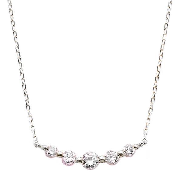 ダイヤモンド ネックレス K18 ホワイトゴールド 0.3ct 5粒 5ストーン ダイヤネックレス 0.3カラット ペンダントf00