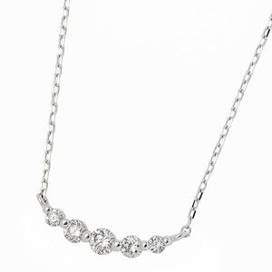 ダイヤモンド ネックレス K18 ホワイトゴールド 0.3ct 5粒 5ストーン ダイヤネックレス 0.3カラット ペンダント h03
