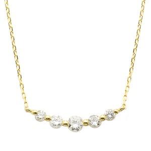 ダイヤモンド K18 イエローゴールド 0.3ct 5粒 5ストーン ダイヤ0.3カラット ペンダント