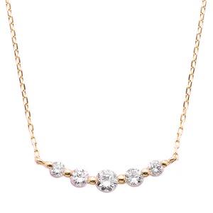 ダイヤモンド K18 ピンクゴールド 0.3ct 5粒 5ストーン ダイヤ0.3カラット ペンダント