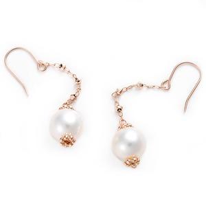 ピアス アコヤ真珠 パール K10 ピンクゴールド シンプル 約7mm 約7ミリ ジプシーピアス アコヤ真珠 本真珠 真珠