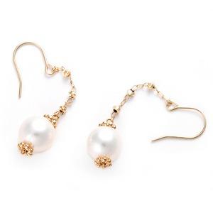 ピアス アコヤ真珠 パール K10 イエローゴールド シンプル 約7mm 約7ミリ ジプシーピアス アコヤ真珠 本真珠 真珠