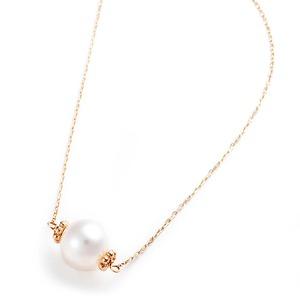 K10イエローゴールド あこや真珠 パールネックレス 40cm 長さ調節可能(アジャスター付き) - 拡大画像