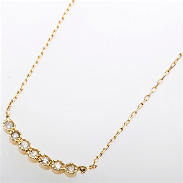 K10イエローゴールド 天然ダイヤモンドペンダント/ネックレス ダイヤ0.07ct 7石ダイヤf00