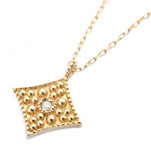 K10イエローゴールド 天然ダイヤモンドペンダント/ネックレス ダイヤ0.01ct アンティーク調スクエアモチーフ h01