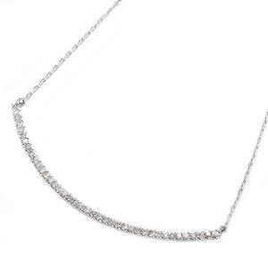 K10ホワイトゴールド 天然ダイヤモンドペンダント/ネックレス 0.2ct(40石) 大人気デコルテラインデザイン 40cm 長さ調節可能(アジャスター付き) - 拡大画像