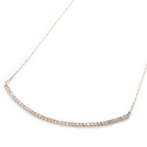 K10イエローゴールド 天然ダイヤモンドペンダント/ネックレス 0.2ct(40石) 大人気デコルテラインデザイン 40cm 長さ調節可能(アジャスター付き) - 拡大画像