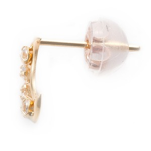 高品質キュービックジルコニア ピアス K18イエローゴールド 月 ムーンモチーフ シリコン製ダブルロックキャッチ仕様 h02