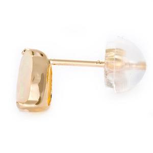 ピアス エチオピアオパール K18 イエローゴールド 6mm×4mmサイズ カボションカット シリコン製ダブルロックキャッチ仕様